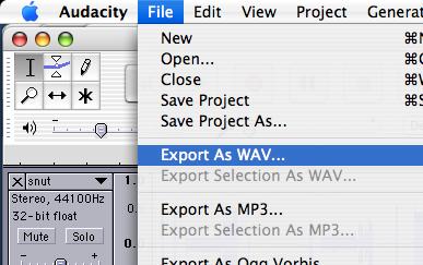 Audacity Export