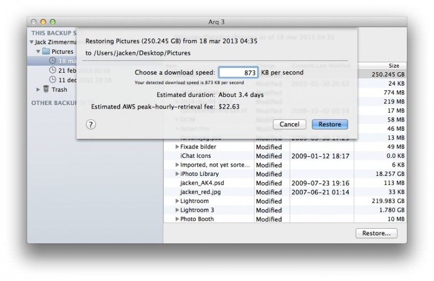 Arq Restore Cost Estimate Dialog image