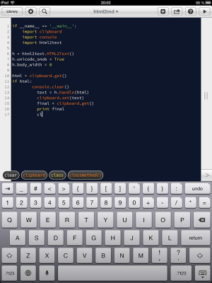 Pythonista editor completion