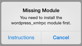 wordpress_xmlrpc module not installed dialog