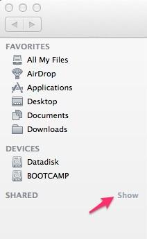 Mac OS X Finder Sidebar Shared image