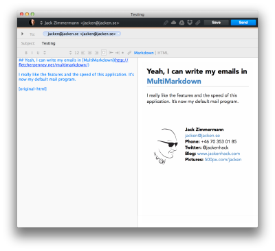 Airmail Compose email window screenshot