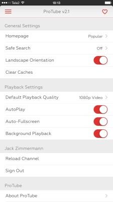ProTube iOS App Setting Screen