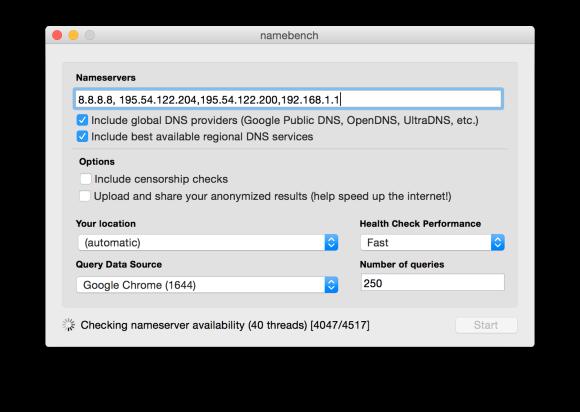 NameBench Main Window screenshot