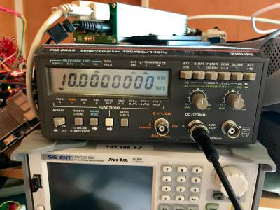 Image of frequency counter from calibrated SI5351C module
